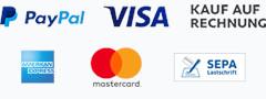 Zahlungsarten: PayPal, VISA, American Express, MasterCard, SEPA Lastschrift, Kauf auf Rechnung